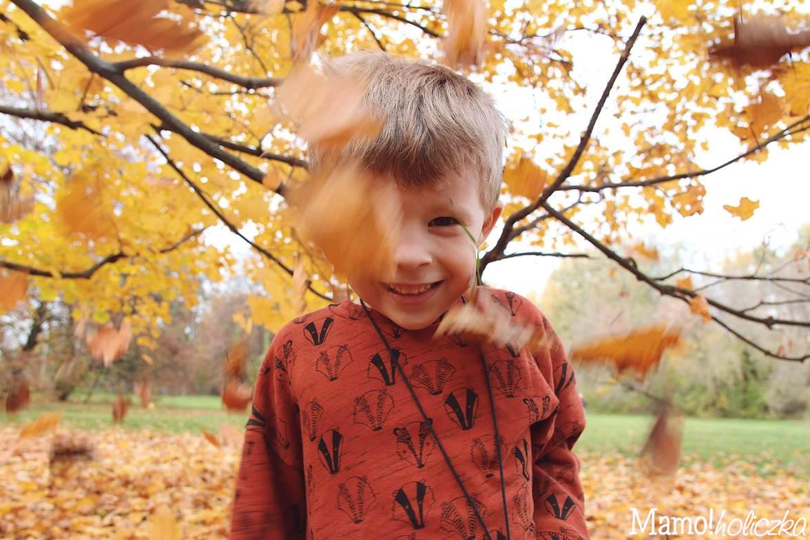 zabawy z dziećmi, spacer, liście, jesień, mój syn, modne dziecko